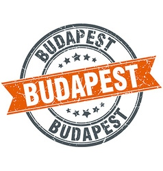 Budapest red round grunge vintage ribbon stamp vector