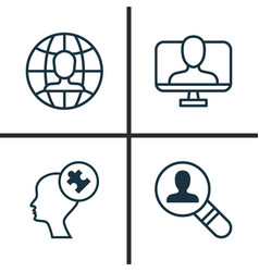 Business icons set collection of online identity vector