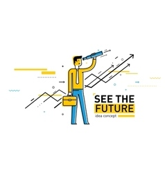 Businessman with telescope looking to the future vector image vector image
