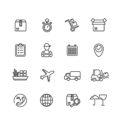 Cargo and shipping outline icons set vector