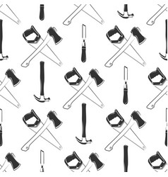 Carpentry seamless pattern with hammer ax saw vector