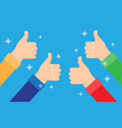 Cheering people holding many thumbs thumbs up vector