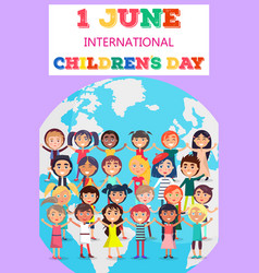 Childrens day poster with kids on earth symbol vector