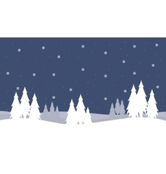 Christmas landscape with trees of silhouettes vector