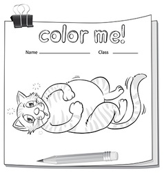 Coloring worksheet with a cat and a pencil vector image vector image