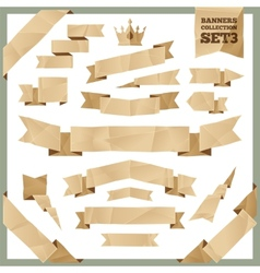 Crumpled Paper Ribbons Banners Collection Set3 vector image