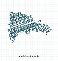 Doodle sketch of dominican republic map vector