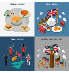 Great britain touristic isometric 2x2 icons set vector