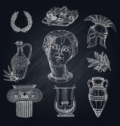 greece chalkboard elements set vector image