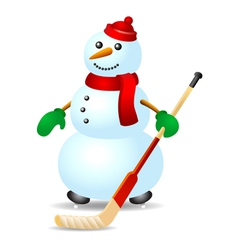 Ice hockey snowman vector image