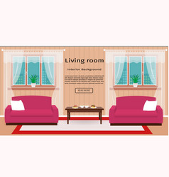 Living room interior banner with windows and vector