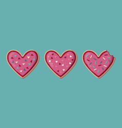 Love banner with heart shape cookies valentine vector