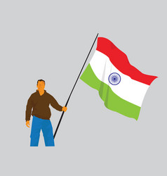 man holding indian flag vector image vector image