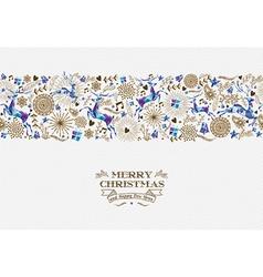 Merry christmas seamless pattern reindeer vintage vector