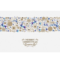 Merry christmas seamless pattern reindeer vintage vector image vector image