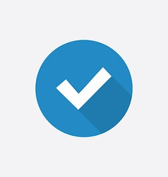ok Flat Blue Simple Icon with long shadow vector image