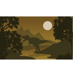 One t-rex in riverbank silhouette vector