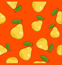Seamless pattern pear on orange background vector