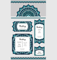 Set of card or wedding invitation marine oriental vector