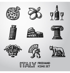 Set of italy freehand icons - pizza olives wine vector