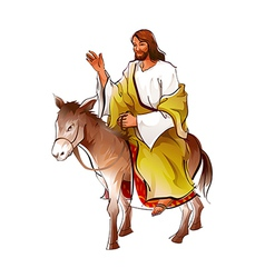 Side view of Jesus Christ sitting on donkey vector image