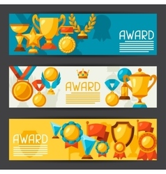 Sport or business banners with award icons vector