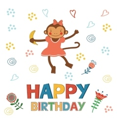 Stylish Happy birthday card with cute monkey vector image vector image