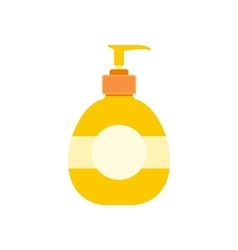 Yellow plastic bottle with liquid soap flat vector