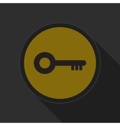 Yellow round button with black key icon vector
