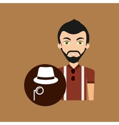 Young hipster man fedora hat and mustache vector