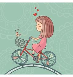 Enamored girl on bicycle vector image