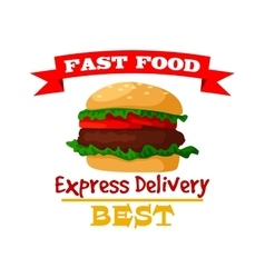 Hamburger fast food burger emblem icon vector