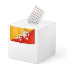 Ballot box with voting paper Bhutan vector image
