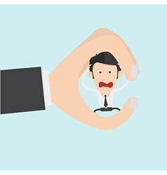 Conceptual creative shot of a man between fingers vector