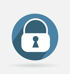 Circle blue icon with shadow padlock vector