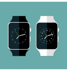 Light and Dark Flat Smart Watches vector image