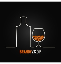 Brandy glass bottle menu background vector