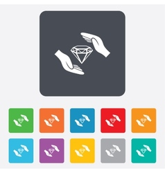Jewelry insurance sign hands protect diamonds vector