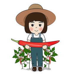 Planter and chilies vector