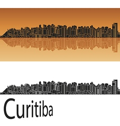 Curitiba skyline in orange vector
