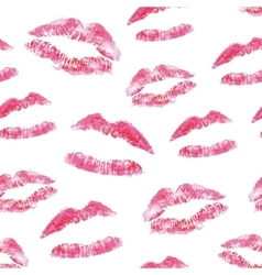 Seamless pattern - red lips kisses prints vector
