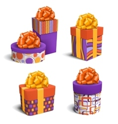 Set collection of colorful celebration gift boxes vector