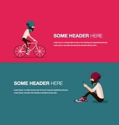 Cycling banner vector