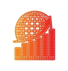 Growing graph with earth orange applique isolated vector