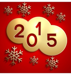 abstract gold circles for the New Year 2015 on red vector image
