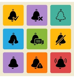 black bell icons set vector image vector image
