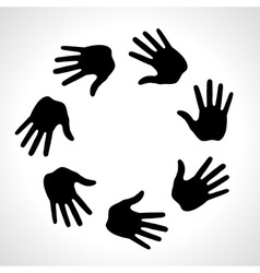 Black hand print icon logo vector
