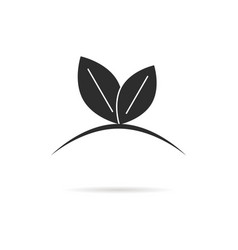 black leaf like germinating sprout logo vector image vector image
