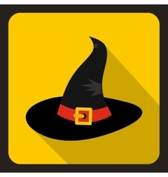Black witch icon flat style vector image vector image