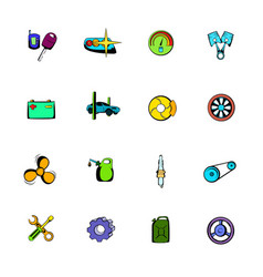 Car service maintenance icons set cartoon vector